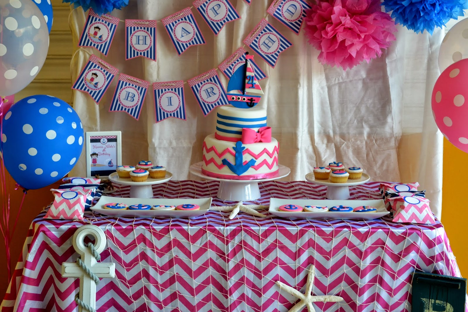 pink blue nautical girl party birthday party ideas themes