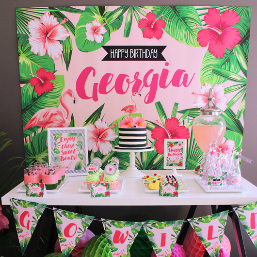 Modern Wedding Backdrop Ideas: Festive Flamingo Birthday Party