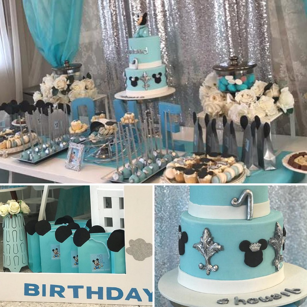 Sky Blue And Silver Baby Mickey Mouse First Birthday
