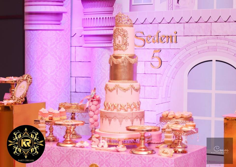 Golden-Princess-Castle-Birthday-Tiered-Cake