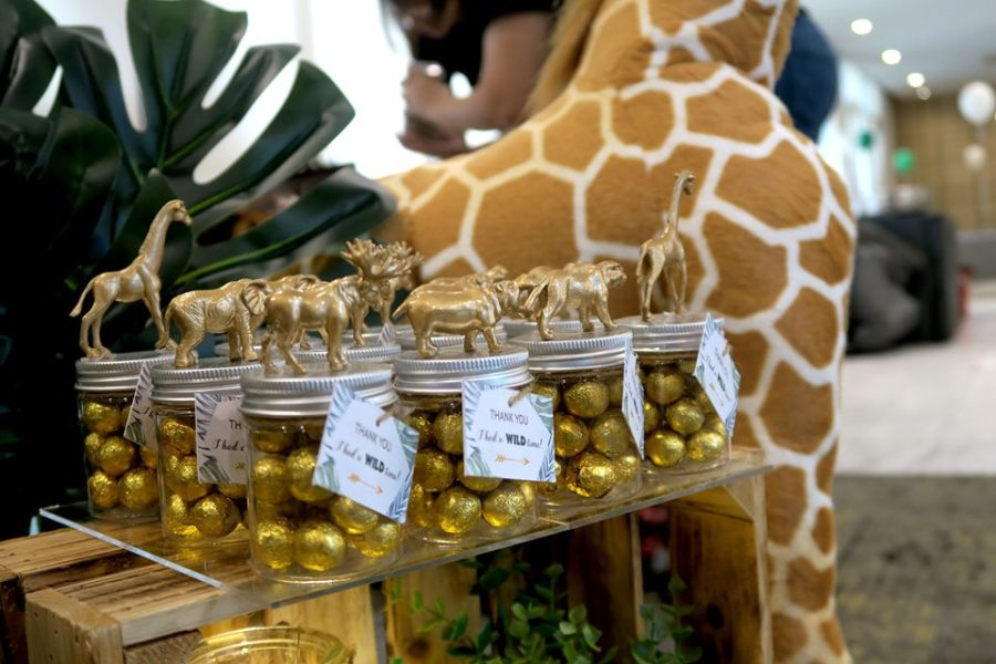 gold balls jar favors with