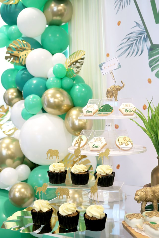 gold safari animal cupcake toppers