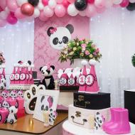 pink black white panda balloon arch
