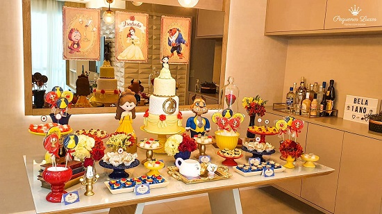 Beauty and the Beast themed dessert table