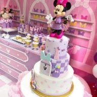 Pink and Purple Minnie Bow-Tique 1st Birthday cake