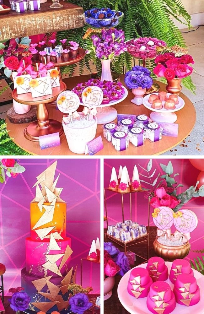 Rose Gold and Pink Geometric Quinceañera tablescape