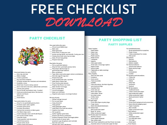 FREE mario party checklist and shopping list