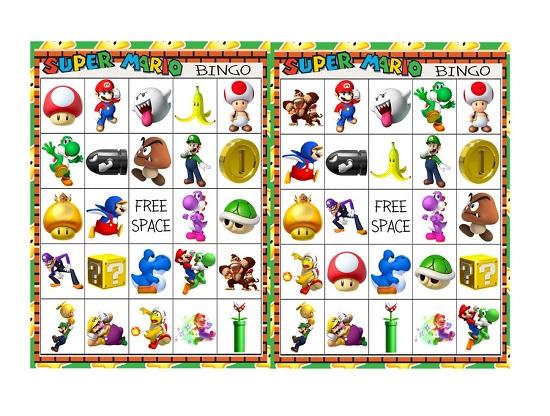 Super Mario Brothers Bingo 10 card printable